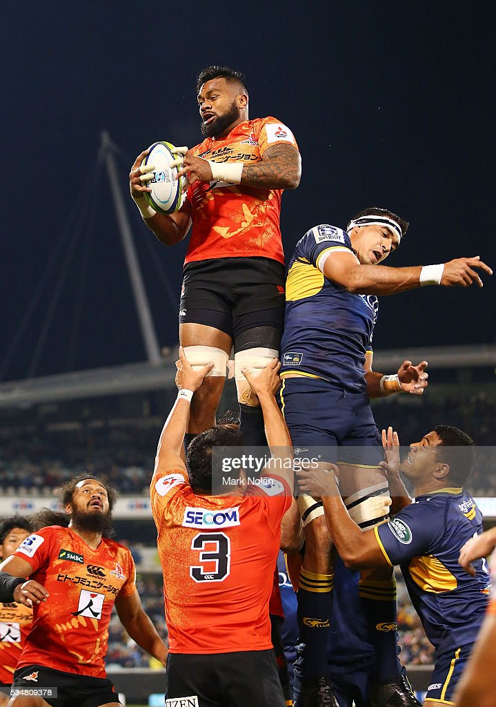 Fa'Atiga Lemalu of the Sunwolves wins line out ball during the round 14 Super Rugby match between the Brumbies and the Sunwolves at GIO Stadium on May 28, 2016 in Canberra, Australia.