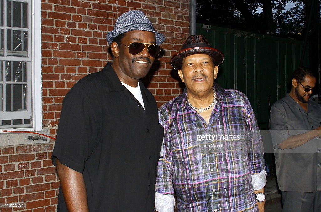 Fab 5 Freddy and Roy Ayers poses backstage at the Central Park SummerStage on July 2, 2011 in New York City.