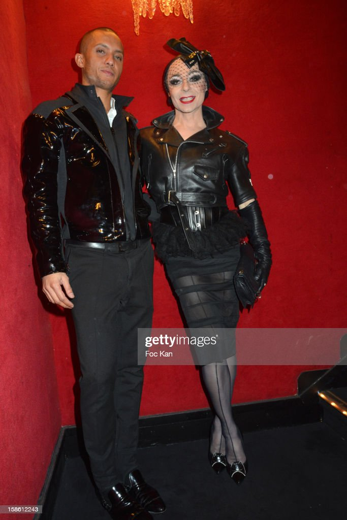 Fab (L) and Laurent Mercier (Lola ) attend the 'Joyeux Paradis' Party by Emmanuel d'Orazio & Marc Zaffuto at Le Paradis Latin on December 20, 2012 in Paris, France.
