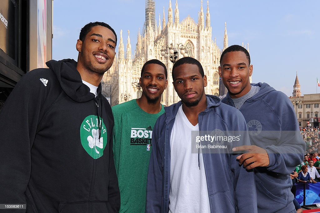 Fab Melo #13, Kris Joseph #43, Dionte Christmas #12 and Jared Sullinger #7 of the Boston Celtics pose for a photo as the Boston Celtics participate in NBA Cares program with the Special Olympics on October 6, 2012 at Piazza Duomo in Milan, Italy.