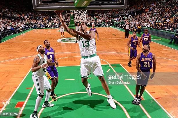 Fab Melo of the Boston Celtics drives to the basket against the Los Angeles Lakers on February 7 2013 at the TD Garden in Boston Massachusetts NOTE...