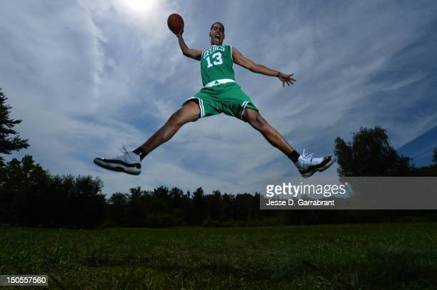 Fab Melo of the Boston Celtics poses for a portrait during the 2012 NBA rookie photo shoot on August 21 2012 at the MSG Training Facility in...