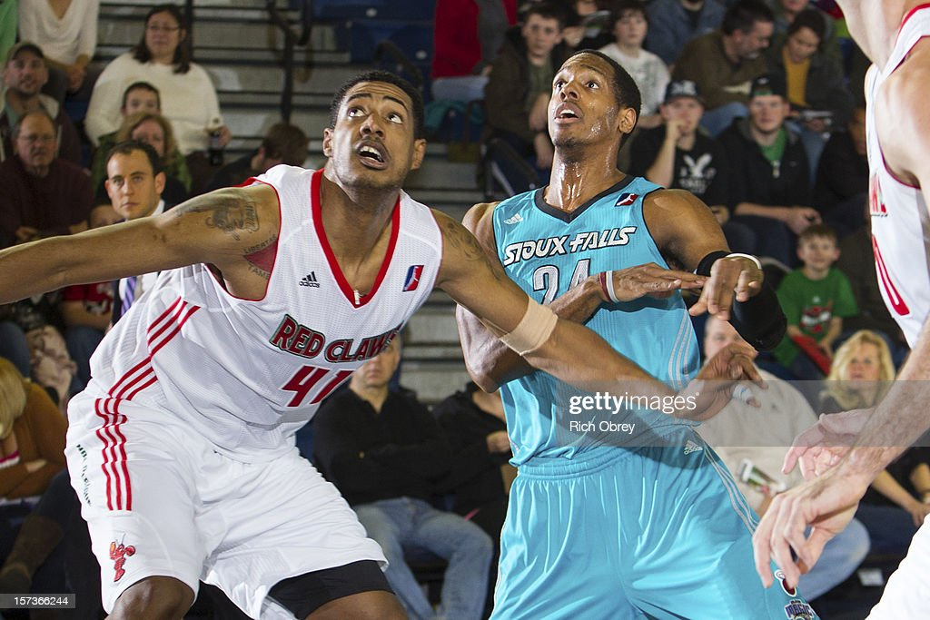 Fab Melo #41 of the Maine Red Claws battles against Mike Davis #24 of the Sioux Falls Skyforce on December 2, 2012 at the Portland Expo in Portland, Maine.