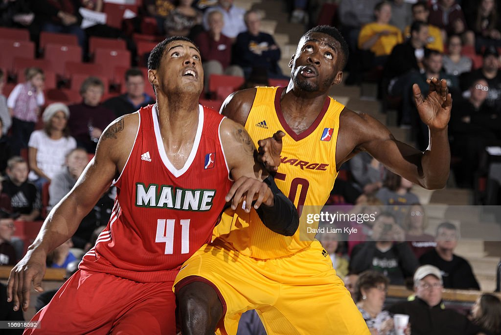 Fab Melo #41 of the Maine Red Claws battles for rebound positioning against Michael Eric #50 of the Canton Charge at the Canton Memorial Civic Center on November 23, 2012 in Canton, Ohio.