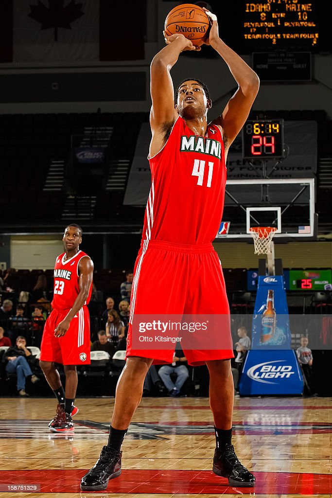 Fab Melo #41 of the Maine Red Claws goes to the line for a free throw against the Idaho Stampede during the NBA D-League game on December 26, 2012 at CenturyLink Arena in Boise, Idaho. Melo was on assignment from the Boston Celtics.
