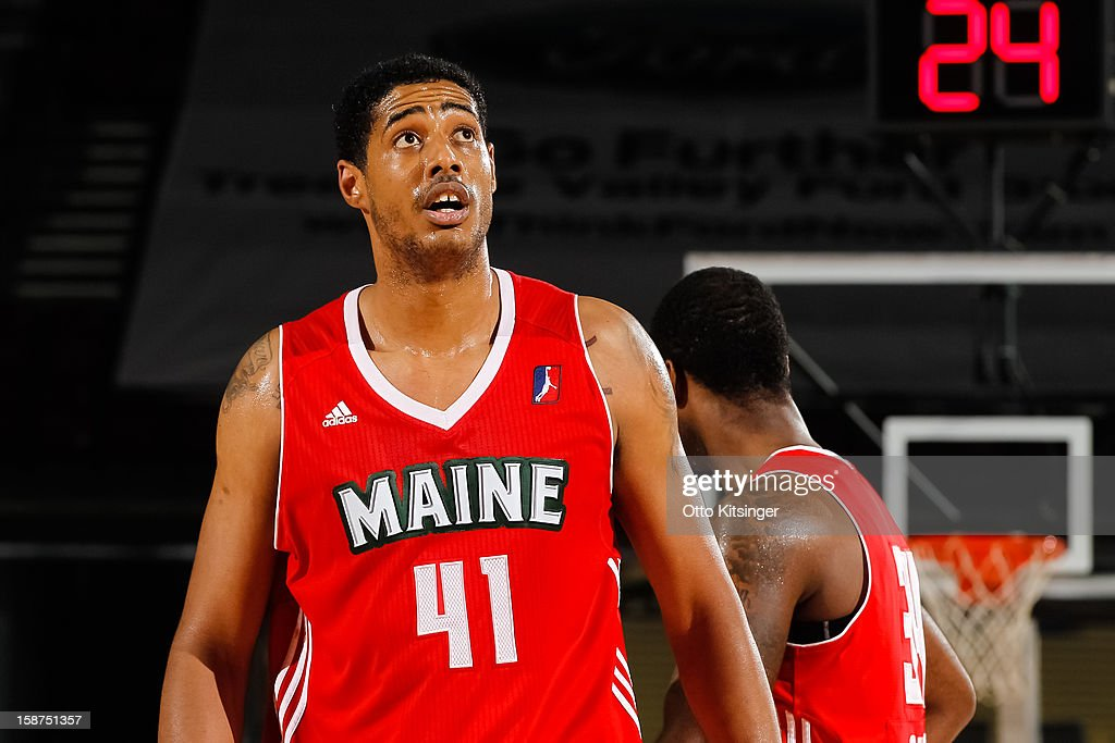 Fab Melo #41 of the Maine Red Claws looks to the scoreboard during a break in action in the NBA D-League game against the Idaho Stampede on December 26, 2012 at CenturyLink Arena in Boise, Idaho. Melo was on assignment from the Boston Celtics.