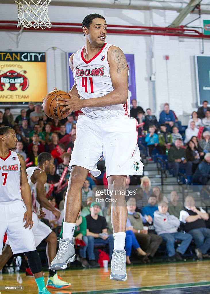 Fab Melo #41 of the Maine Red Claws pulls down a rebound against the Rio Grande Vipers during the NBA D-League playoff game on Thursday, April 11, 2013 at the Portland Expo in Portland, Maine.