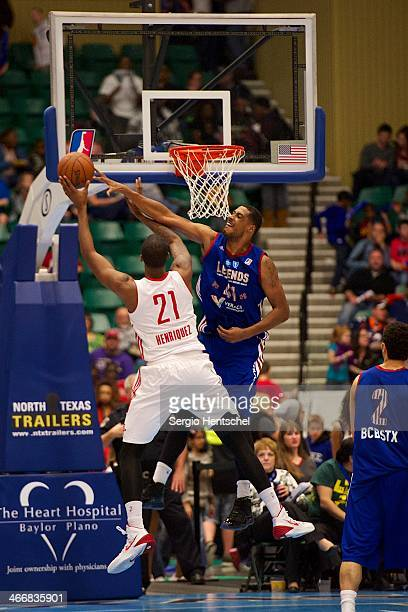 Fab Melo of the Texas Legends blocks a shot during the game against the Rio Grande Valley Vipers on February 1 2014 at Dr Pepper Arena in Frisco...