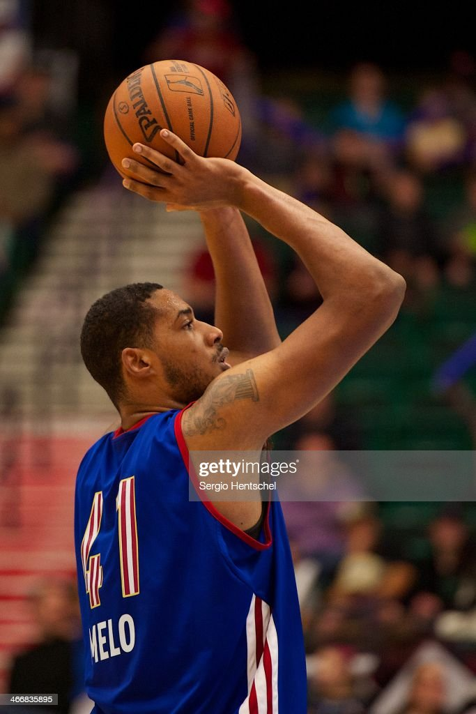 Fab Melo #41 of the Texas Legends shoots the ball during the game against the Rio Grande Valley Vipers on February 1, 2014 at Dr. Pepper Arena in Frisco, Texas.