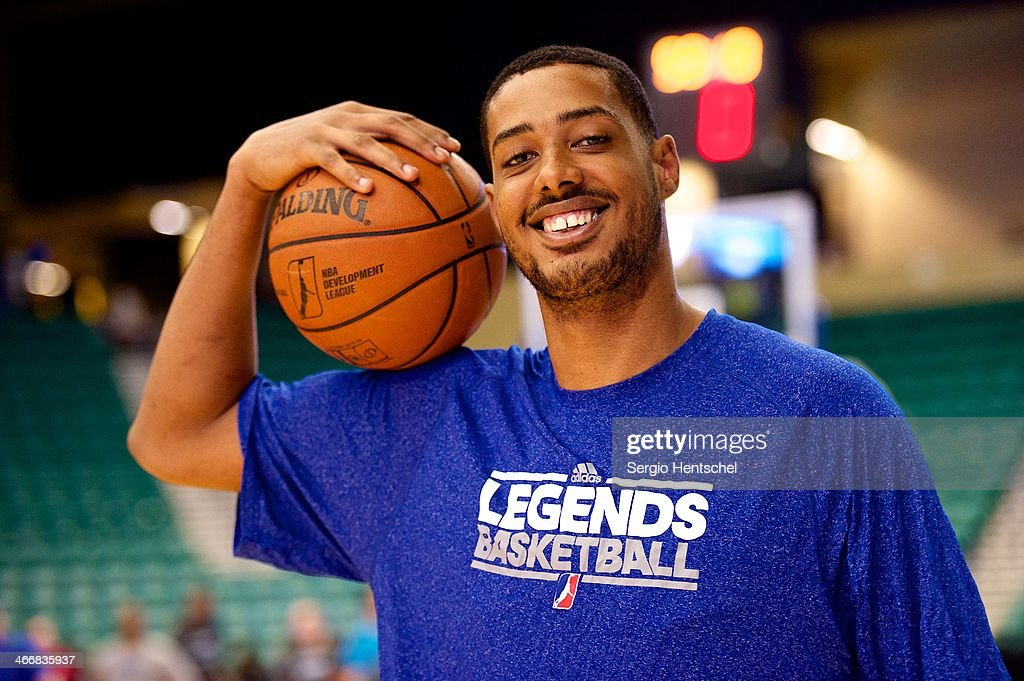 <a gi-track='captionPersonalityLinkClicked' href=/galleries/search?phrase=Fab+Melo&family=editorial&specificpeople=7366439 ng-click='$event.stopPropagation()'>Fab Melo</a> #41 of the Texas Legends warms up before the game against Rio Grande Valley Vipers on February 1, 2014 at Dr. Pepper Arena in Frisco, Texas.