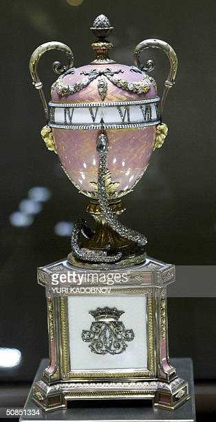 Faberge 1902 'Douchess of Marlborough clock egg' is displayed at an exhibition in the Kremlin in Moscow 18 May 2004 A stunning collection of nine...