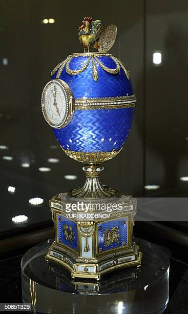 Faberge 1904's 'Kelch Chanticleer egg' is displayed at an exhibition in the Kremlin in Moscow 18 May 2004 A stunning collection of nine Faberge...