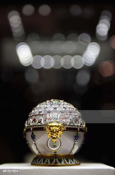 Faberge Egg on display at the Faberge museum in Shuvalov Palace during the media tour of Russia 2018 FIFA World Cup venues on July 20 2015 in Saint...