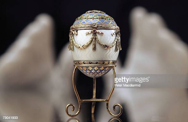 Faberge enamel and two colour gold egg bonbonniere estimated at GBP30000 GBP50000 is displayed at Christie's on January 19 2007 in London The...