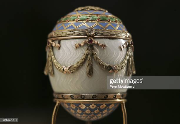 Faberge enamel and two colour gold egg bonbonniere estimated at GBP30000 GBP50000 is displayed at Christie's on January 19 2007 in London England The...