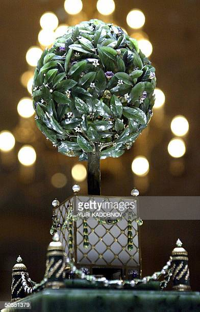 Faberge's 1911 'Bay Tree Egg' is displayed at an exhibition in the Kremlin in Moscow 18 May 2004 A famed collection of nine Faberge imperial eggs...