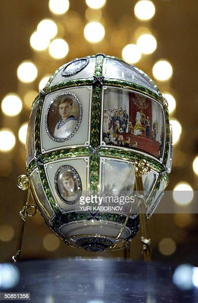Faberge's 1911 'Fifteen Anniversary egg' is displayed at an exhibition in the Kremlin in Moscow 18 May 2004 A stunning collection of nine Faberge...