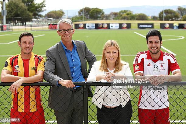 Fabian Barbiero David Gallop Larissa Hazel Rocky Visconte pose for a photograph during the PlayStation 4 National Premier Leagues 2015 Season Launch...