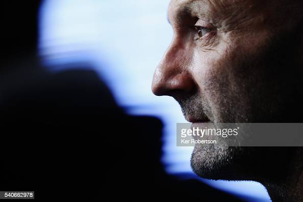 Fabian Barthez the Panis Barthez Competition coowner/driver talks at a press conference before qualifying for the Le Mans 24 Hour race at the Circuit...