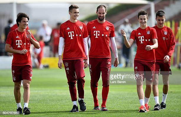 Fabian Benko goalkeeper Christian Fruechtl goalkeeper Tom Starke Marko Friedl and Milos Pantovic are seen after a training session at day five of the...