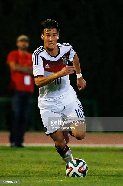 Fabian Benko of Germany runs with the ball during the international friendly match between U17 Spain and U17 Germany at Campo Municipal de Nerja on...