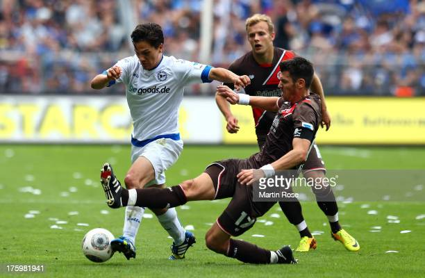 Fabian Boll of StPauli and Tim Jerat of Bielefeld battles for the ball during the Second Bundesliga match between FC St Pauli and Arminia Bielefeld...
