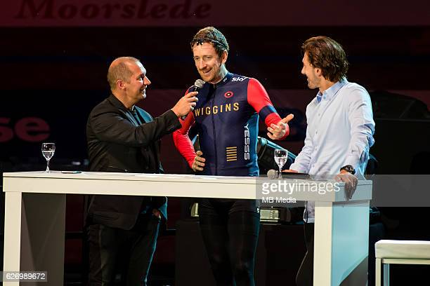 Fabian Cancellara and Bradley Wiggins pictured during 'Ciao Fabian' An event to honour Fabian Cancellara's carreer In Kuipke Gent Belgium on Saturday...
