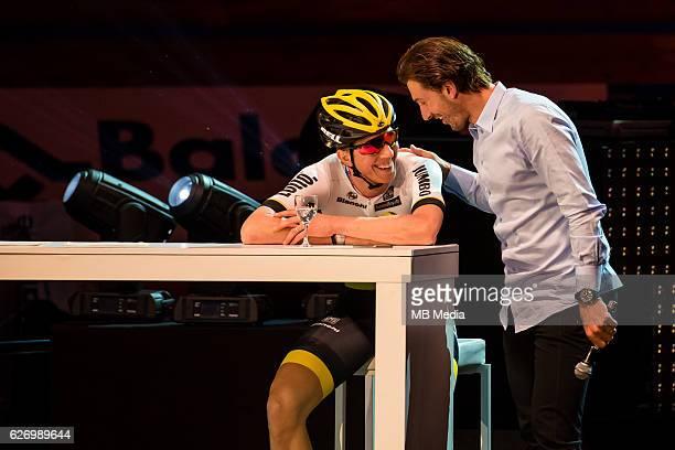 Fabian Cancellara and Sep Vanmarcke pictured during 'Ciao Fabian' An event to honour Fabian Cancellara's carreer In Kuipke Gent Belgium on Saturday...