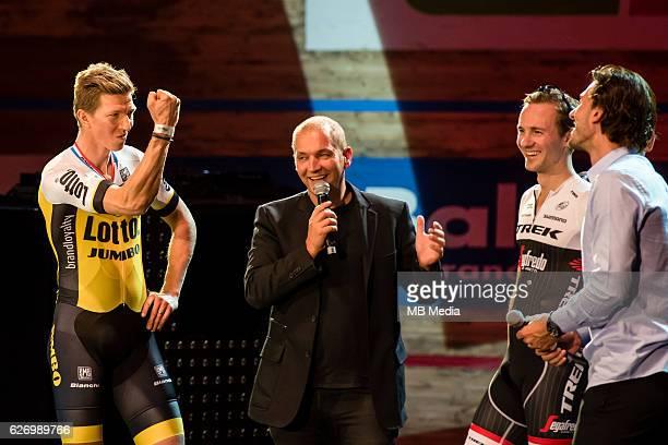 Fabian Cancellara Edward Theuns Karl Vannieuwkerke and Sep Vanmarcke pictured during 'Ciao Fabian' An event to honour Fabian Cancellara's carreer In...