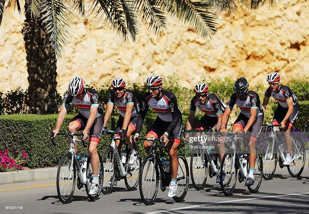 <a gi-track='captionPersonalityLinkClicked' href=/galleries/search?phrase=Fabian+Cancellara&family=editorial&specificpeople=573515 ng-click='$event.stopPropagation()'>Fabian Cancellara</a> leads his Radioshack-Leopard team on a training ride ahead of the 2013 Tour of Oman on February 10, 2013 in Muscat, Oman. The race will start tomorrow with a 162km stage from Al Musannah to Sultan Qaboos University.