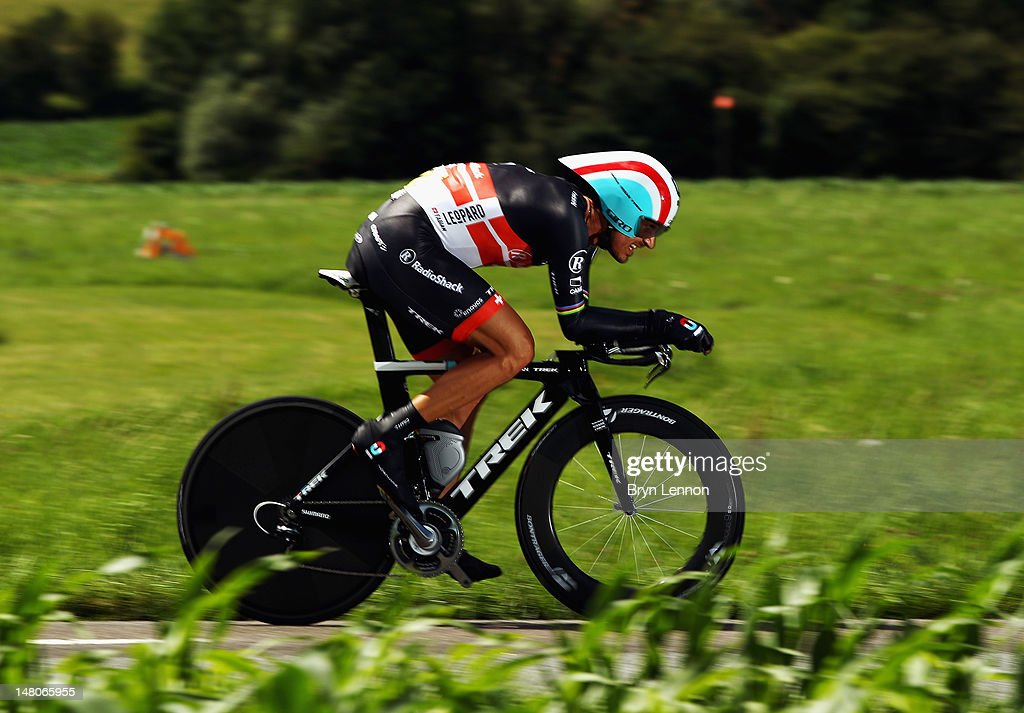 <a gi-track='captionPersonalityLinkClicked' href=/galleries/search?phrase=Fabian+Cancellara&family=editorial&specificpeople=573515 ng-click='$event.stopPropagation()'>Fabian Cancellara</a> of Switzerland and Radioshack-Nissan in action during stage nine of the 2012 Tour de France, a 41.5km individual time trial, from Arc-et-Senans to Besancon on July 9, 2012 in Besancon, France.