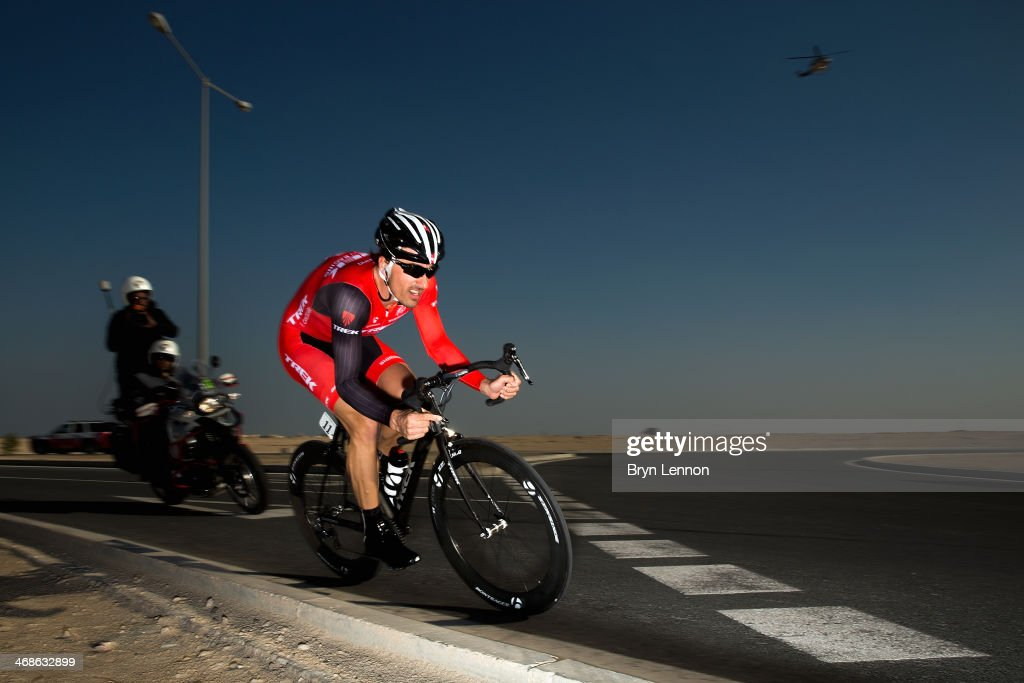 Fabian Cancellara of Switzerland and the Trek Factory Racing Team in action during stage three of the Tour of Qatar a 109km individual time trial at...