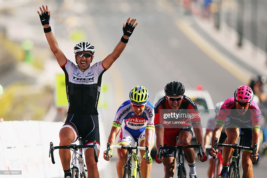 <a gi-track='captionPersonalityLinkClicked' href=/galleries/search?phrase=Fabian+Cancellara&family=editorial&specificpeople=573515 ng-click='$event.stopPropagation()'>Fabian Cancellara</a> of Switzerland and Trek Factory Racing celebrates as he crosses the finish line to win stage two of the 2015 Tour of Oman, a 195.5km road stage from Al Hazm Castle to Al Bustan on February 18, 2015 in Al Bustan, Oman.