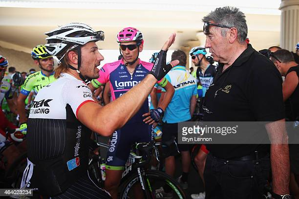 Fabian Cancellara of Switzerland and Trek Factory Racing is seen in discussion with Race Organiser Eddy Merckx over safety concerns which eventually...
