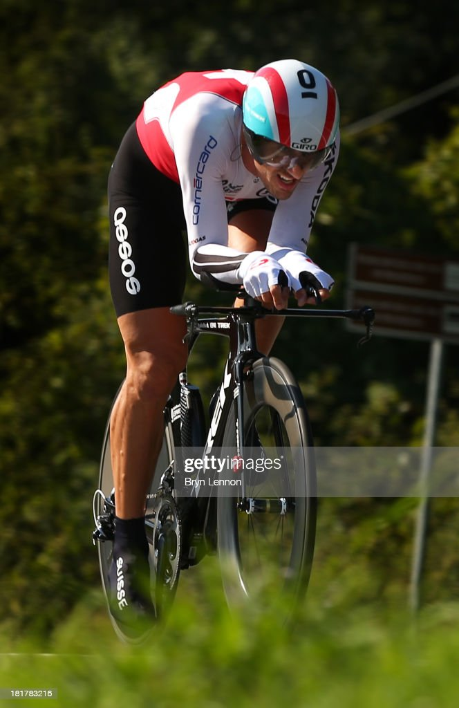 <a gi-track='captionPersonalityLinkClicked' href=/galleries/search?phrase=Fabian+Cancellara&family=editorial&specificpeople=573515 ng-click='$event.stopPropagation()'>Fabian Cancellara</a> of Switzerland in action during the Elite Men's Time Trial, from Montecatini Terme to Florence on September 25, 2013 in Florence, Italy.