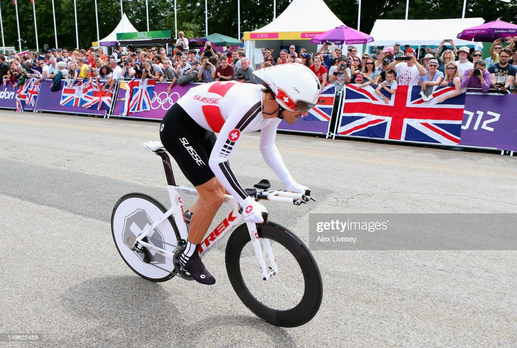 <a gi-track='captionPersonalityLinkClicked' href=/galleries/search?phrase=Fabian+Cancellara&family=editorial&specificpeople=573515 ng-click='$event.stopPropagation()'>Fabian Cancellara</a> of Switzerland in action during the Men's Individual Time Trial Road Cycling on day 5 of the London 2012 Olympic Games on August 1, 2012 in London, England.
