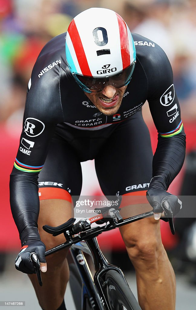 Fabian Cancellara of Switzerland in action on his way to winning the Tour de France Prologue at Parc d'Avroy on June 30, 2012 in Liege, Belgium. The 99th Tour de France starts with 6.4km individual time trial around the streets of Liege.