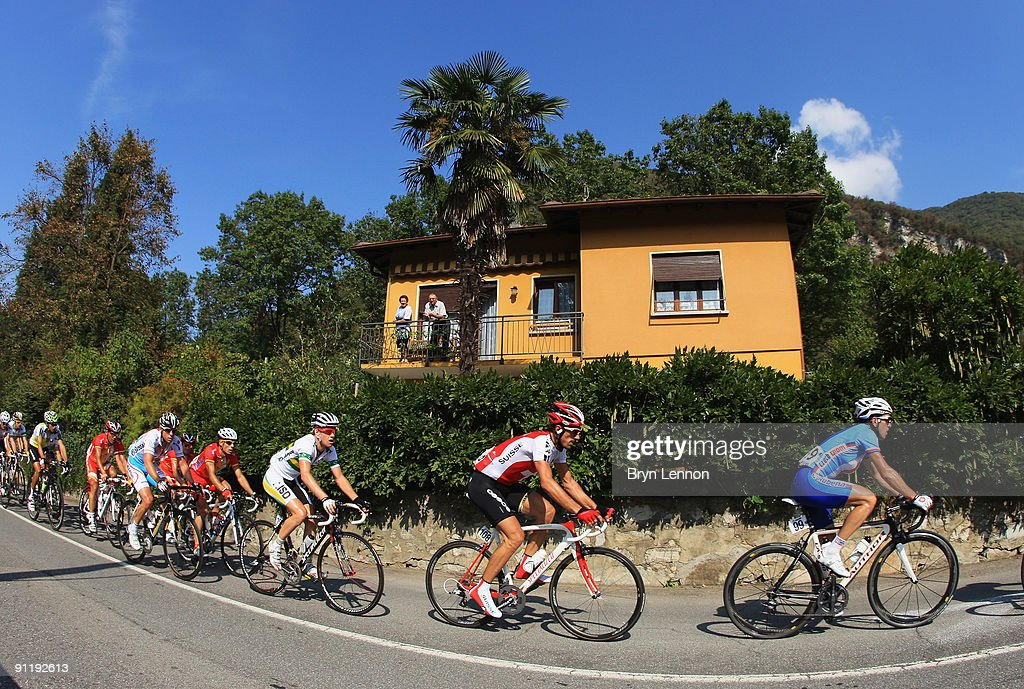 Fabian Cancellara (108) of Switzerland rides in peloton through the streets of Mendrisio during the Men's Road Race at the 2009 UCI Road World Championships on September 27, 2009 in Mendrisio, Switzerland.