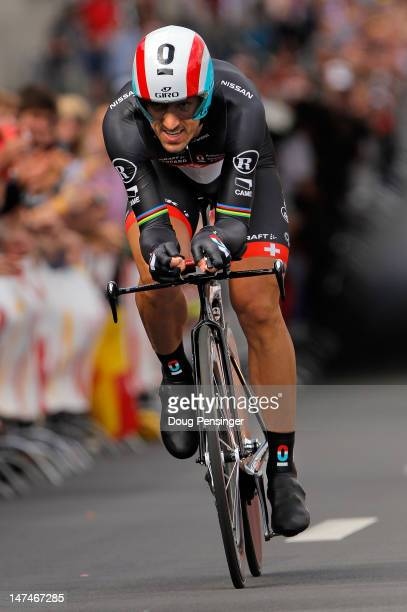 Fabian Cancellara of Switzerland riding for RadioshackNissan races to first place in the prologue of the 2012 Tour de France on June 30 2012 in Liege...