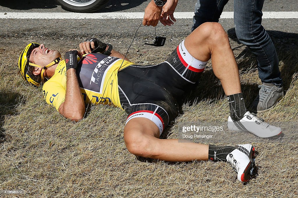 <a gi-track='captionPersonalityLinkClicked' href=/galleries/search?phrase=Fabian+Cancellara&family=editorial&specificpeople=573515 ng-click='$event.stopPropagation()'>Fabian Cancellara</a> of Switzerland riding for Trek Factory Racing in the overall race leader yellow jersey is attended to after being involved in a crash with 65km remaining in stage three of the 2015 Tour de France from Anvers to Huy on July 6, 2015 in Huy, Belgium.
