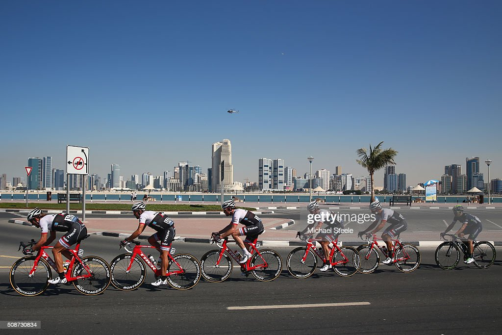 Fabian Cancellara (L) of Trek Segafredo leads his team along Umm Suqueim Beach during the Business Bay Stage Four of the Tour of Dubai on February 6, 2016 in Dubai, United Arab Emirates.