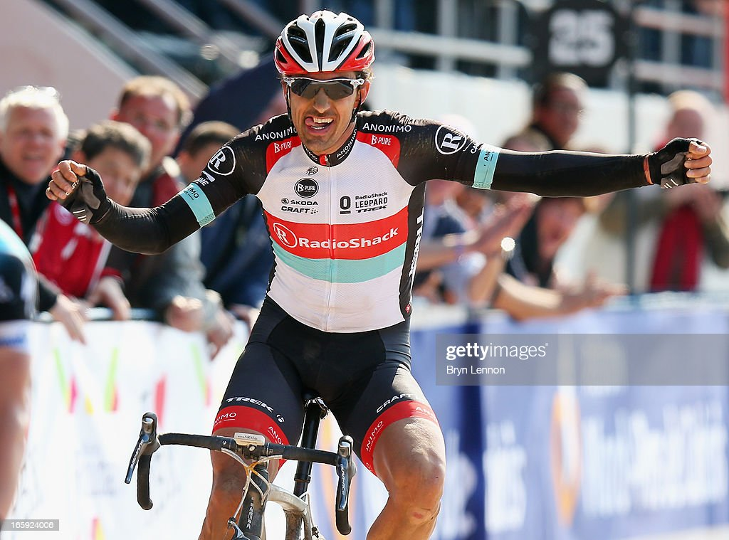 Fabian Cancelllara of Switzerland and Radioshack Leopard celebrates winning the 2013 Paris - Roubaix race from Compiegne to Roubaix on April 7, 2013 in Roubaix, France. The 111th Paris - Roubaix race is 254km long and contains 27 sections of cobblestones.