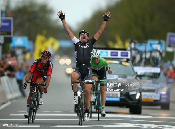 Fabian Cancelllara of Switzerland and Trek Factory Racing crosses the finish line to win the 98th Tour of Flanders from Bruges to Oudenaarde on April...