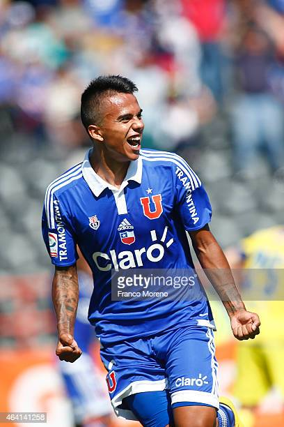 Fabian Carmona of Universidad de Chile celebrates after scoring the first goal of his team against U de Concepcion during a match between U de...