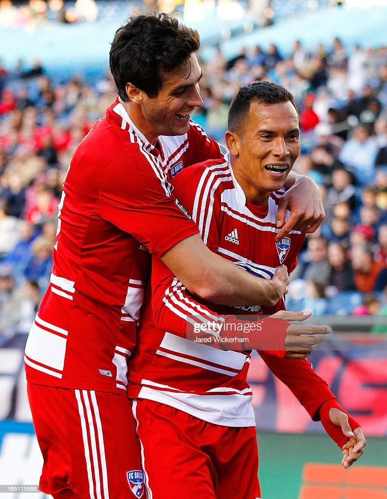 <a gi-track='captionPersonalityLinkClicked' href=/galleries/search?phrase=Fabian+Castillo&family=editorial&specificpeople=6483174 ng-click='$event.stopPropagation()'>Fabian Castillo</a> #7 of FC Dallas celebrates with teammate George John #14 of FC Dallas after scoring a goal late in the second half against the New England Revolution during the game at Gillette Stadium on March 30, 2013 in Foxboro, Massachusetts.