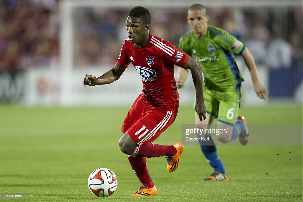 Fabian Castillo #11 of the FC Dallas controls the ball against the Seattle Sounders FC on April 12, 2014 at Toyota Stadium in Frisco, Texas.