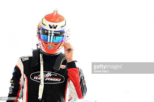 Fabian Coulthard driver of the DJR Team Penske Ford Falcon FGX during qualifying for the V8 Supercars Darwin Triple Crown at Hidden Valley Raceway on...
