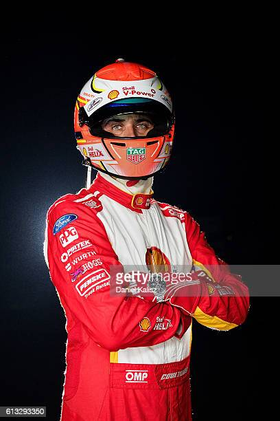 Fabian Coulthard driver of the DJR Team Penske Ford Falcon FGX poses for a photo after the Top Ten Shootout for the Bathurst 1000 which is race 21 of...