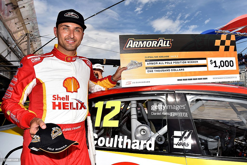 Fabian Coulthard driver of the #12 DJR Team Penske Ford Falcon FGX reacts after taking pole position after the top ten shootout for the V8 Supercars Clipsal 500 at Adelaide Street Circuit on March 6, 2016 in Adelaide, Australia.