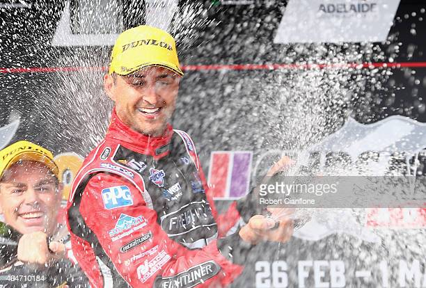 Fabian Coulthard driver of the Freightliner Racing Holden celebrates after winning race two for the V8 Supercars Clipsal 500 at the Adelaide Street...